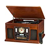 it.innovative technology Victrola Nostalgic Aviator Wood 8-in-1 Bluetooth Turntable Entertainment Center, Mahogany (Renewed)