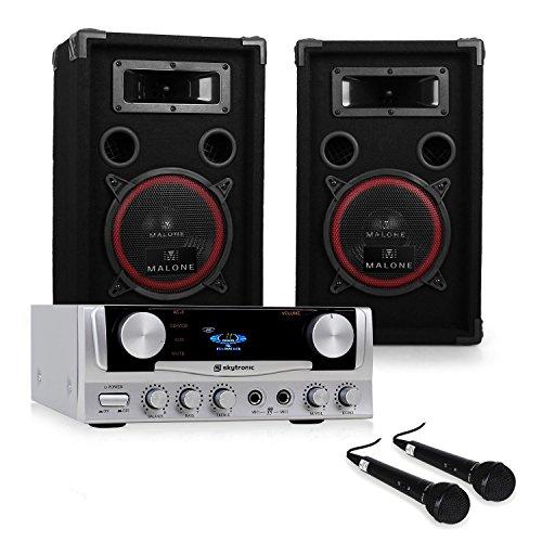 ELECTRONIC-STAR - DJ Set EASY, Karaoke, 1 x Coppia Casse Altoparlanti Passivi 1000 Watt MAX, 1 x Amplificatore Hi Fi Skytronic, Equalizzatore, 2 Microfoni Dinamici, Set Di Cavi