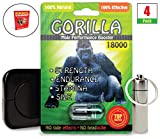 Green Gorilla 18000 (4 Caps) Male Performance, Energy, Enhancement, and Endurance Bundle with Accessories (7 Items)