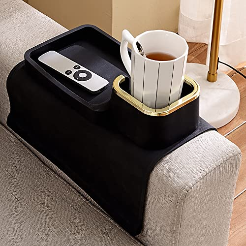Couch Tray, Silicone Anti-Spill and Anti-Slip Recliner Table Tray, Strong and Weighted Remote/ Snacks/ Cellphone/ Earbuds Sofa Arm Cup Holder for Recliner Accessories, Armchair, Couch Console (Black)