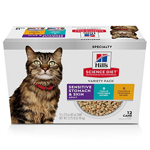 Hill's Science Diet Adult Sensitive Wet Cat Food Variety Pack, 2.9 oz, Count of 12