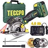 Scie Circulaire sans Fil, TECCPO 18V 4.0Ah Batterie, 1h...