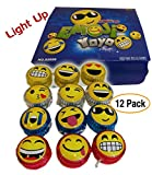 12 pack  Emoji | Emoticon Light-Up YOYOs, variety of faces and impressions, Ultimate idea for Party Favors / Birthday Giveaways