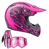 Typhoon Adult Women's Dirt Bike ATV Helmet Motocross Goggles and Gloves Combo - Matte Pink with Pink (XL)