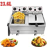 24.9QT / 23.6L Commercial Deep Fryer with baskets, Stainless Steel Dual Basket Electric Fryer, 1500W MAX Countertop Deep Fryers with Faucet for Edible Oil Releasing (Silver_23.6L)