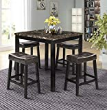 5 Piece Counter Height Dining Set Kitchen Table Furniture Set with 4 Chairs Dining Room Table and Bar Stools (Brown)