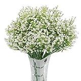 Homcomodar 12 Pack Flores Artificiales Bebs Flores de Aliento Plantas de Gypsophila Falsas Ramos para el Hogar de la Boda Decoracin de Bricolaje (Blanco)