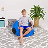 Posh Beanbags Bean Bag Chair, Large-38in, Sports Soccer Ball Blue and Black