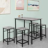 Haotian OGT11 Bar Set-1 Bar Table and 4 Stools, Home Kitchen Breakfast Bar Set Furniture Dining Set (Grey)