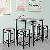 SoBuy® OGT11-HG Set de 1 Table + 4 Tabourets Ensemble Table de Bar bistrot + 4 tabourets avec Repose-Pieds Table Mange-Debout Table Haute Cuisine