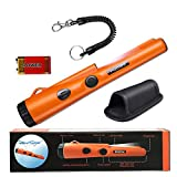 Pinpoint Metal Detector Pinpointer - Fully Waterproof with Orange Color Include a 9V Battery 360 Search Treasure Pinpointing Finder Probe with Belt Holster for Adults and Kids(Three Mode)