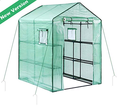 Greenhouse for Outdoors with Observation Windows (New Version), Ohuhu Large Walk-In Plant Greenhouse, 3 Tiers 12 Shelves Stands Green House, Bonus Ground Pegs & Ropes for Stability, 4.9 X 4.7 X 6.4 FT