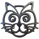 Cat Trivet - Black Cast Iron -...