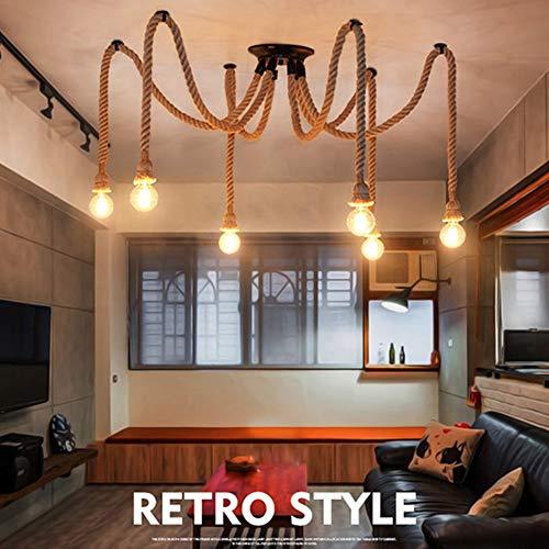 Base lampadine lampadario pendente Lampada a sospensione 6 luce,Lampadario in bamb e corda di canapa...