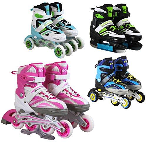 SportVida Inline Skates Kinder Erwachsene Inliner 4in1 | Verstellbare Schlittschuhe | Triskates Größenverstellbar ABEC7 Lager | Rollschuhe in Größen 31-42 | Pink Blau Grün Türkis (Pink, 39-42)