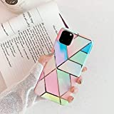 Cocomii Geometric Marble iPhone 11 Pro Case, Slim Thin Glossy Soft Flexible TPU Silicone Rubber Gel Shiny Chrome Streaks Fashion Bumper Cover for Apple iPhone 11 Pro 5.8 Inch 2019 (G.Rainbow)