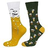 soxo Chaussettes d'homme Colorées sur le thème de la bière   Pointure 40-45EU   Chaussette Fantaisie Longues Drôles  Cadeau pour les Hommes   pour chaussures basses et hautes