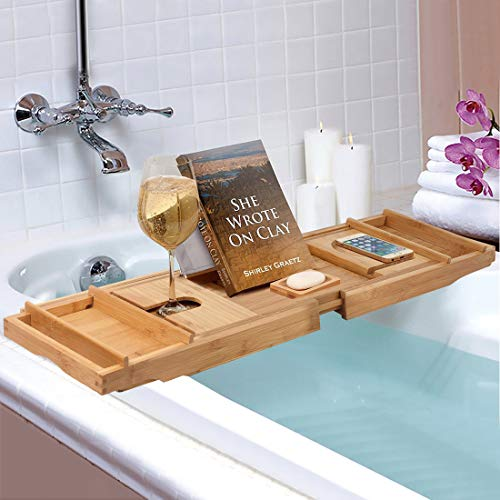 BAMBUROBA Bamboo Bathtub Caddy Tray,Bath Accessories & Table with Wine Glass Holder,Book Stand Bathroom Organizer with Extending Sides for Women