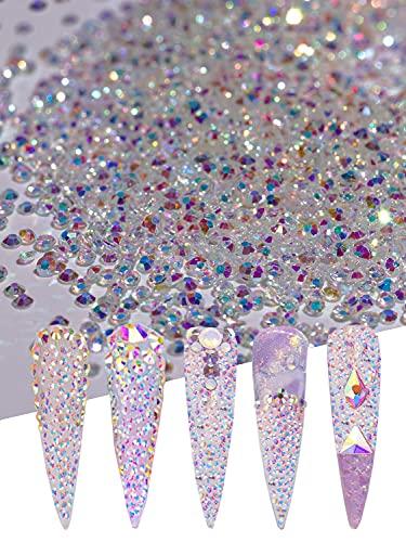 Misssix 15000pcs 1.2mm Ultra Mini Crystals Beads Glass Sand Rhinestones Flatback Ail Micro Beads Diamond Dust Iridescent Crystal ab Colorful Shine For Nail Art 3D Decorations DIY Craft