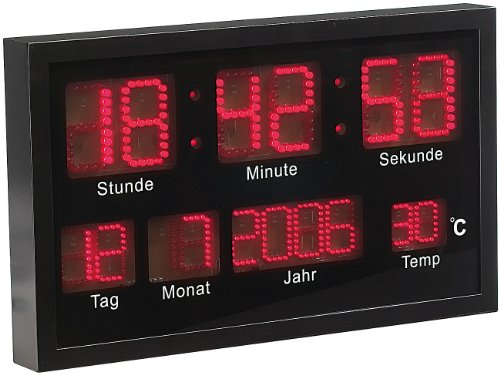 Lunartec LED Uhr groß: Multi-LED-Uhr mit Datum & Temperatur (LED Wanduhr)