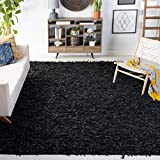 Safavieh Leather Shag Collection LSG601A Hand-Knotted Modern Leather Area Rug, 8' x 10', Black