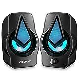ELEGIANT Double Haut-parleurs PC, Enceintes PC USB 2.0 Système de Stéréo 2 *...