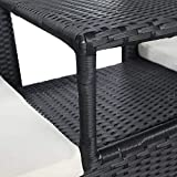 vidaXL Bank mit Teetisch 2-Sitzer Poly Rattan Schwarz Gartenbank Gartenmöbel Set - 5