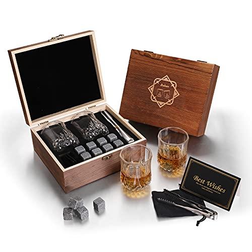 Baban Whisky Stein Set, Wiederverwendbare Eiswürfel, 8 Eissteine und 2 * 200ml Whiskygläser,...