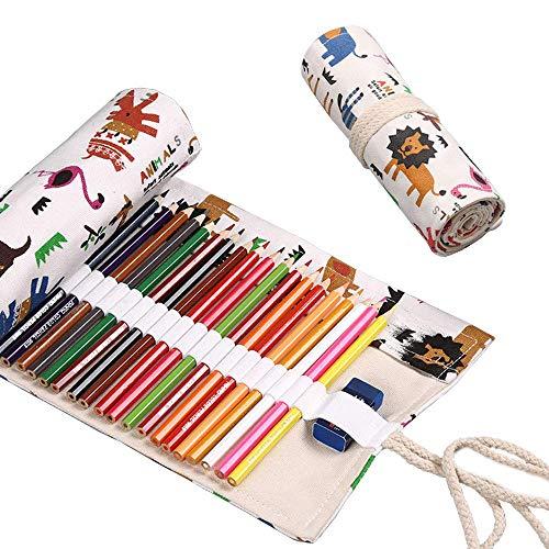 Tela Sacchetto Della Matita Roll Up Pencil Pouch 48 Fori Tela Matita Wrap Astuccio, Astucci in Tela Arrotolabile per Artista, Scuola, Schizzi, Disegni, Ufficio, Studenti Cancelleria Stoccaggio