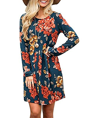 Fabric: 65% Polyester + 35% Cotton, soft and stretchy. Features: This floral pleated swing dress could be dressed up or down. Women's fall dresses, with its' chic floral print, cute long sleeve, above knee length and tunic empire waist designs, you'r...