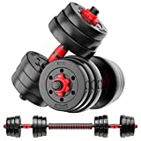 Weights Dumbbells Set - Adjustable Dumbbells for Weight Lifting Training -Weights Dumbbell Set for Men and Women - Barbell Weight Equipment Set with Connecting Rod - Safe & Stable Free Pair of 44lbs