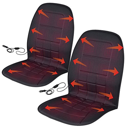 BDK Travel Warmer Pair - 2 Heated Seat Cushions Covers 12-Volt Padded Thermal Release, Black (2P-056-BK_AMO)