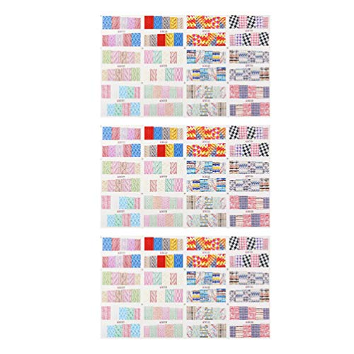 Minkissy 3 Sets Sweater Pattern Nail Stickers DIY Self Adhesive Manicure Stickers Colorful Water Transfer Nail Decals