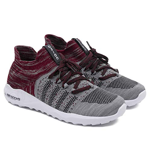 ASIAN Airsocks-12Grey Maroon Knitted Sneakers,Ultralightweight, Breathable Running, Casual Athleisure Walking Shoes for Men (UK-9)