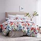 Leadtimes Floral Duvet Cover Queen Boho Bedding Duvet Cover Set Hotel Bedding Sets Comforter Cover with Soft Lightweight Microfiber 1 Duvet Cover and 2 Pillowcases (Queen, Style2)