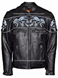 Men's Riding Reflective Skulls Crossover Leather Jacket Vented Thick Leather New (XL Regular)