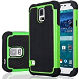 Galaxy S5 Case, Samsung S5 Cover, Jeylly Shock Absorbing Hard Plastic Outer + Rubber Silicone Inner Scratch Defender Bumper Rugged Hard Case Cover for Samsung Galaxy S5 S V G900 - Green