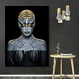 wZUN Carteles de Pintura en Lienzo para Mujer de Oro Negro artístico y Cuadros artísticos de Pared escandinavos de Pinturas Decorativas para Sala de Estar 60x90cm Sin Marco
