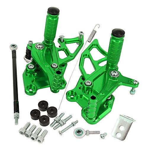 オートバイ バックステップキット 左右 セット バイク用 調整可能 CNC加工 適応車種:カワサキ Ninja 250/300 13-17 Z300 13-17 Ninja 300R EX300 13-14 緑