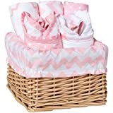 Pink Sky Chevron and Dots 7 Piece Baby Feeding Willow Wicker Basket Gift Set - Bibs and Burp Cloths