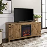 Pemberly Row 58' Farmhouse Barn Door Electric Fireplace TV Stand Console with Storage, for TV's up to 64', in Rustic Barnwood