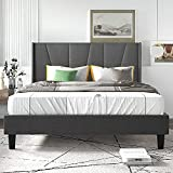 Allewie Queen Size Upholstered Wingback Platform Bed Frame with Geometric Headboard / Mattress Foundation with Wood Slat Support / No Box Spring Needed / Easy Assembly, Dark Grey