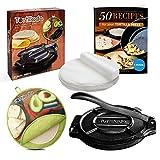 Tortillada – Premium Cast Iron Tortilla Press with Recipes E-Book (10 Inch) + Tortilla Warmer incl. 100pcs Parchment Paper