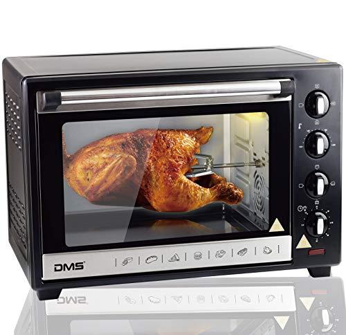 DMS 48L Mini-Backofen mit Drehspieß Umluft Pizzaofen Ofen, Backofen mit Innenbeleuchtung, Timer 2000 Watt herausnehmbares Krümelblech OCR-48D
