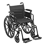 Drive Medical Cruiser X4 Lightweight Dual Axle Wheelchair with Adjustable Detachable Arms, Desk Arms, Swing Away Footrests, 18' Seat