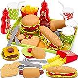 Buyger Dinette Enfant Hamburger Jouet Aliment Cuisine avec Plateau Frites...