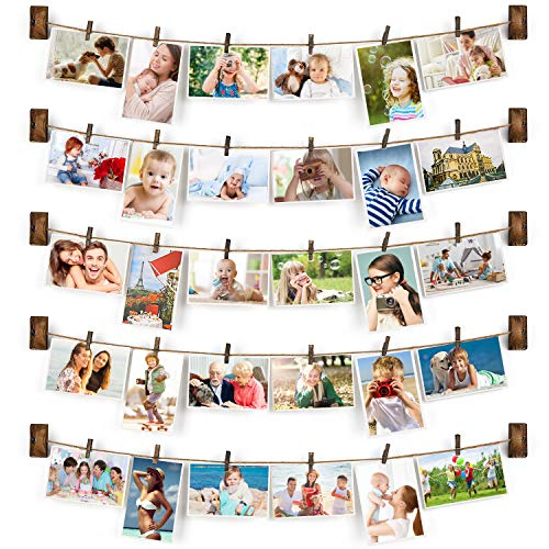 Emfogo Collage Picture Frames Hanging Photo Display Rustic Wood...