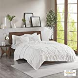 Madison Park Pacey Tufted Chenille 100% Cotton Coverlet, Geometric Shabby Chic Cozy All Season Bedspread Bed Set with Matching Shams, King/Cal King(104'x92'), Ogee White 3 Piece