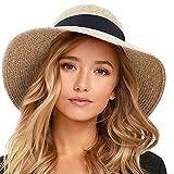 FURTALK Womens Beach Sun Straw Hat UV UPF50 Travel Foldable Brim Summer UV Hat (Aa-Mixed Beige, Medium)