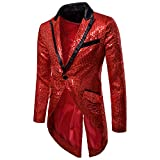 Mens Sequin Tailcoat Swallowtail Suit Jacket Party Show Tux Dress Coat,Red,X-Large
